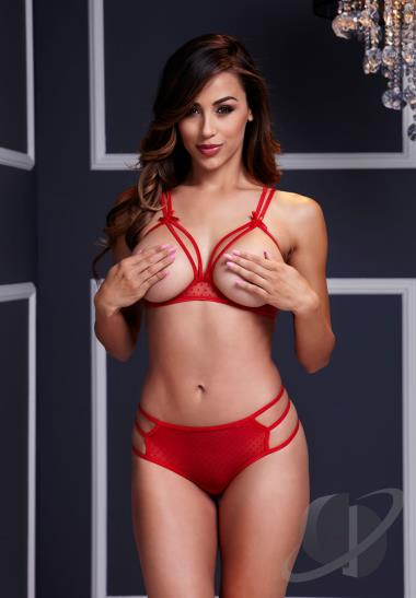 Red Strappy Open Cup Bra Set With Panty Clothing