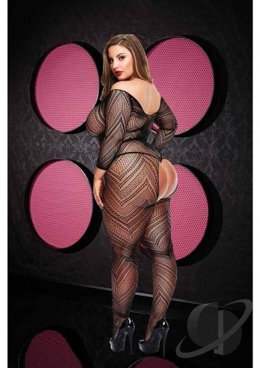 VIP Longsleeve Crotchless Bodystocking Plus Size Clothing